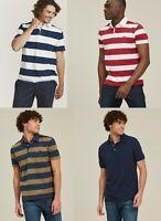 Fat Face Men Short Sleeve Organic Cotton Rugby Stripe Polo Shirt top T shirt