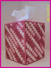 PINK ROSE WHITE NURSERY HANDMADE PLASTIC CANVAS TISSUE BOX COVER TOPPER