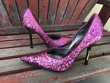 *PiNk SpaRkLe 9.5 Pointy Toe Stiletto Heels PUMP CARRIE GuESS Party Prom Glitter