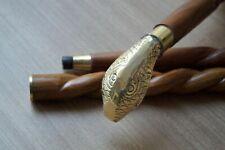 Designer Brass Solid Snake head Handle Vintage Wooden Walking Stick Antique Cane