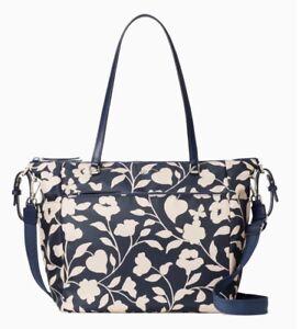 KATE SPADE JAE Garden Vine Diaper Bag Baby Navy Floral Tote Nylon WKRU7024