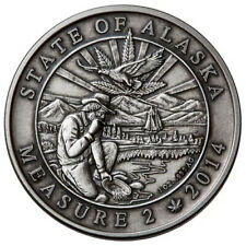 2019 Block Chain 1 oz Silver .999 Alaska Legalized Cannabis Antique Round