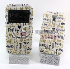 Funda Carcasa Piel Cuero Dibujos Samsung Galaxy S4 SIV i9500 Eiffel Bonjour