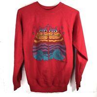 Vintage Laurel Burch Sweatshirt Size M Red Cats Crewneck 80s 1980s