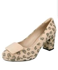 KELDA GEM LADIES CLARKS SUEDE LEOPARD ANIMAL PRINT PLATFORM HEEL COURT SHOES 5.5
