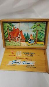 "Goldilocks Picture Cubes Three Bears Circa 1970's 8"" Long"