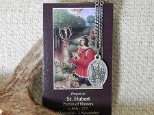 St. Hubert, Patron Saint of Hunters Medal, Chain and Prayer Card
