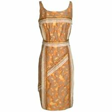 NWT Prada Yellow Orange Abstract Print Jacquard Dress with Trim Detail IT 44 8