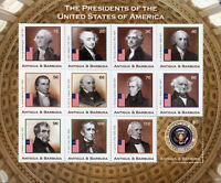 Antigua & Barbuda Stamps 2018 MNH US Presidents Washington Jefferson 12v M/S I