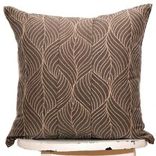 SALE Embroidered brown taupe throw pillow cover case 16x16 Luxury Linen Cushion