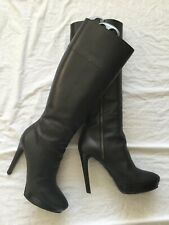 Burberry Black Leather Knee High Heel Boots Sz 8 UK / 41 EU
