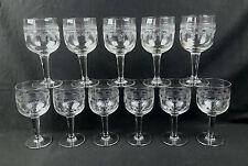 11 VERRES A VIN ANCIENS EN VERRE SOUFFLE GRAVÉ GLASSES VINTAGE BLOWN GLASS