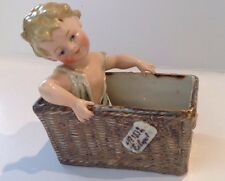 Vintage Boy Piano Baby In Basket Porcelain Figurine Statue