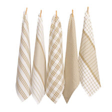 RANS Milan Stripe & Check Tea Towel Set Taupe 5pce