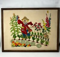 "Vintage Wool Crewel Embroidery Scarecrow Flower Garden Finished Framed 26"" x 20"""