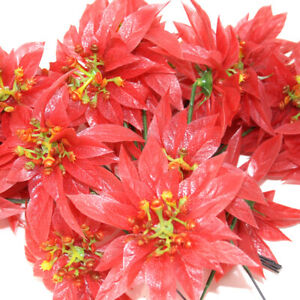 30 x ARTIFICIAL RED POINSETTIA FLOWERS - CHRISTMAS CRAFT FLOWER DISPLAY XMAS