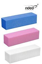 3x Taco Pulidor,  blanco, azul, rosa Lima pulidora Bloque uñas gel uv,  Nded