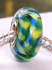 Blue Green Pattern Single Core Glass Bead for Silver European Charm Bracelets