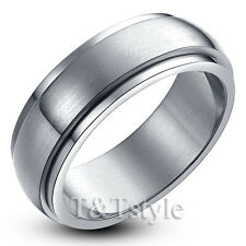 TTstyle 8mm S.Steel Brushed Spinner Wedding Band Ring Mens & Womens Size 6-15