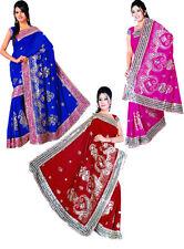 Wholesale Job Lot of 3 Saree Wedding Bollywood Sequin Embroidery Sari Indian R3