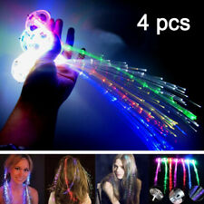 4pcs LED Fiber Optic Hairpin Light-Up Braid Luminous Hair Flashing Rave Party UK
