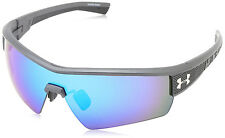 Under Armour UA Fire Satin Carbon Grey Frame Blue Mirror Lens Sport Sunglasses