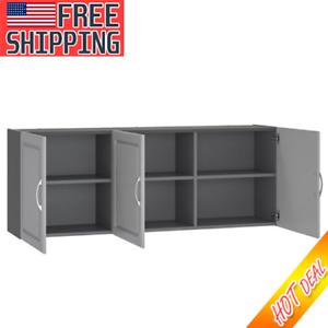 "Wall Cabinet 54"" Closet Shelf 3-Door Storage Home Kitchen Laundry Room Organizer"