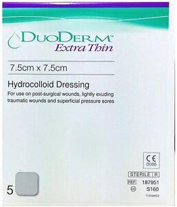 Duoderm Extra Thin Dressings 7.5 cm x 7.5cm Hydrocolloid Dressing Sterile UK