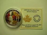 2015 Proof $20 Autumn #3-Express Canada .9999 silver COIN&COA ONLY twenty dollar