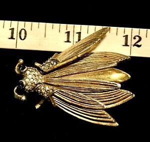 Vintage Pauline Rader Realistic Gt Rhinestone Trembler Cicada Bug Insect Brooch