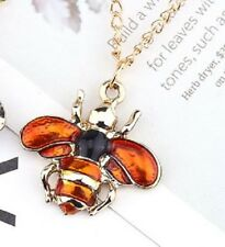 BEE INSECT ENAMEL PENDANT NECKLACE