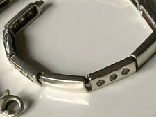 Smooth sterling silver '925' and clear CZ stone rectangular panel bracelet 9.04g