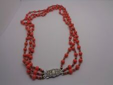 VINTAGE NECKLACE TRIPPLE STRING SALMON BEADS RHINESTONE CLASP PARTY PROM FEST