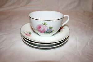 Vintage Noritake China Unknown Pattern Pink Rose Coffee or Tea Cup and 3 Saucers