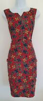 Womens Joe Browns Wine Floral Needlecord Pockets Button Pinafore Dress 10 Vgc.