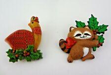 Vintage Hallmark Christmas Raccoon & Partridge Bird Pin / Brooch Lot -Super Cute
