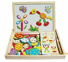 Kid Wooden Cartoon Playset Blocks with Box Magnetic Drawing Board Puzzle Toy