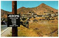 JEROME ARIZONA POPULATION SIGN LARGEST GHOST CITY IN AMERICA CHROME POSTCARD
