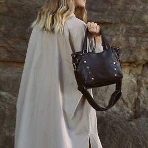 Hammitt Daniel Black Medium Strap Leather Bag Purse Gunmetal Handbag Purse NEW