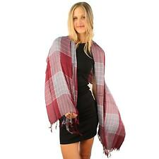 Men's Soft Cotton Light Warm College Plaid Long Fringe Oblong Scarf Wrap Wine