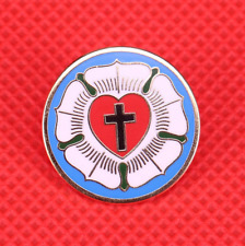 Lutheranism pin Christian cross Luther rose red heart badge Lutheran religious