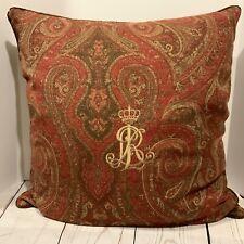 Ralph Lauren Tapestry Pillow Sham Pillow Cover Only Gold RL Monogram