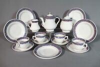 Staffordshire Pearl Ware Child's 18 Pc Purple Stick Spatter Tea Set Ca 1870s