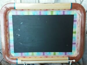 Repurposed vintage metal Tray Chalkboard yellow & wood design 18x13 rectangle