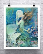 Mermaid With Pearl Underwater Vintage Fine Art Rolled Canvas Giclee 24x29 in.