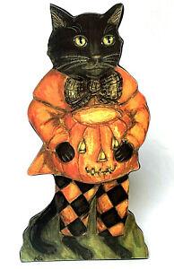 Kathy Seburn Bethany Lowe Halloween Cat Board Vintage Style Folk Art Retired