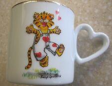 Vintage 1977 Enesco Suzys Zoo TIGER Heart Cut-Out Love MUG Suzy Spafford small