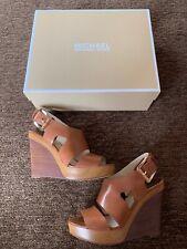Michael Kors Josephine Wedge Sandal Heel Brown Cognac Luggage Size 8 Shoes