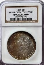 "1887-$1 MORGAN SILVER DOLLAR, ""BATTLE CREEK COLLECTION"", NGC UNCIR. COND.TONING"