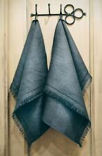 Thick 100 % Linen towel hand face Set 2/3 embroidery fring Charcoal grey FLAX